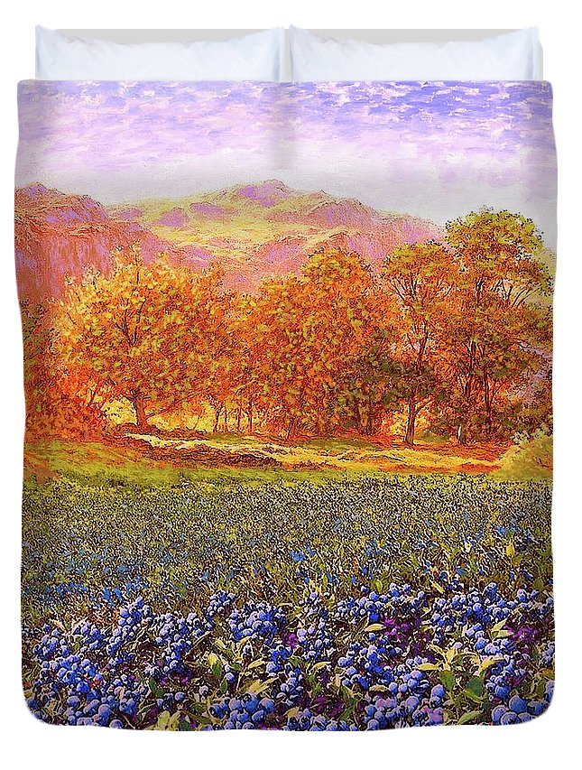 Meadow Duvet Cover featuring the painting Blueberry Fields by Jane Small