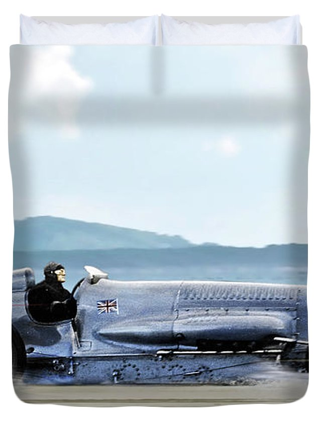 Bluebird Ii Duvet Cover featuring the mixed media Bluebird II, 1928, World Record Land Speed Record At Pendine Sands, Wales, 178.88 Mph by Thomas Pollart
