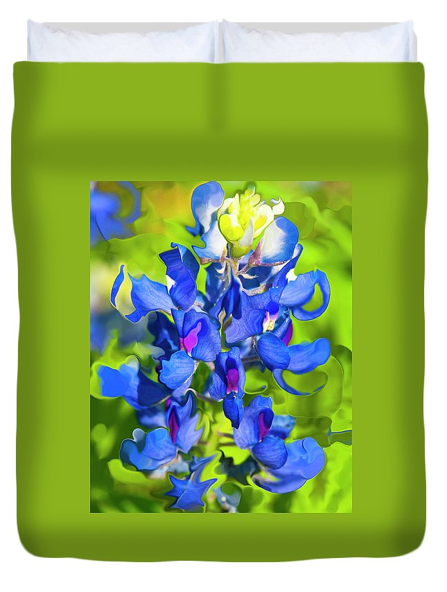 Flower Duvet Cover featuring the photograph Bluebonnet Fantasy by Stephen Anderson