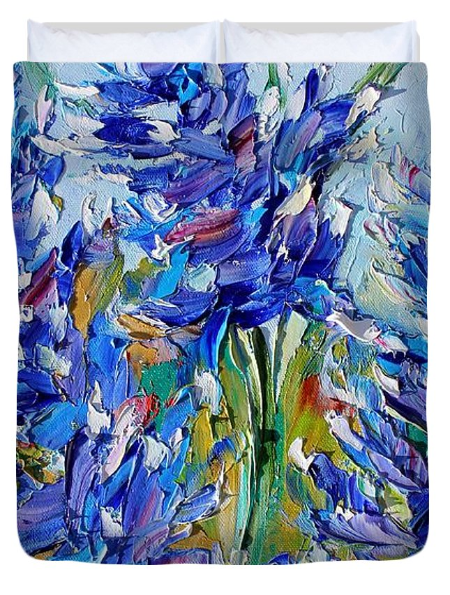 Bluebonnets Duvet Cover featuring the painting Bluebonnets Of Texas by Karen Tarlton