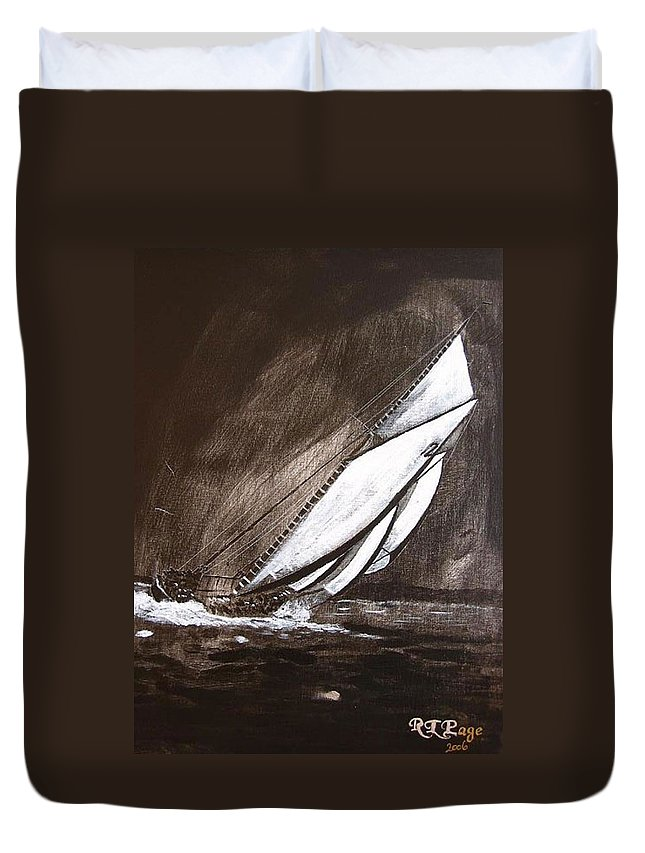Bluenose Duvet Cover featuring the painting Bluenose At Night Going by Richard Le Page