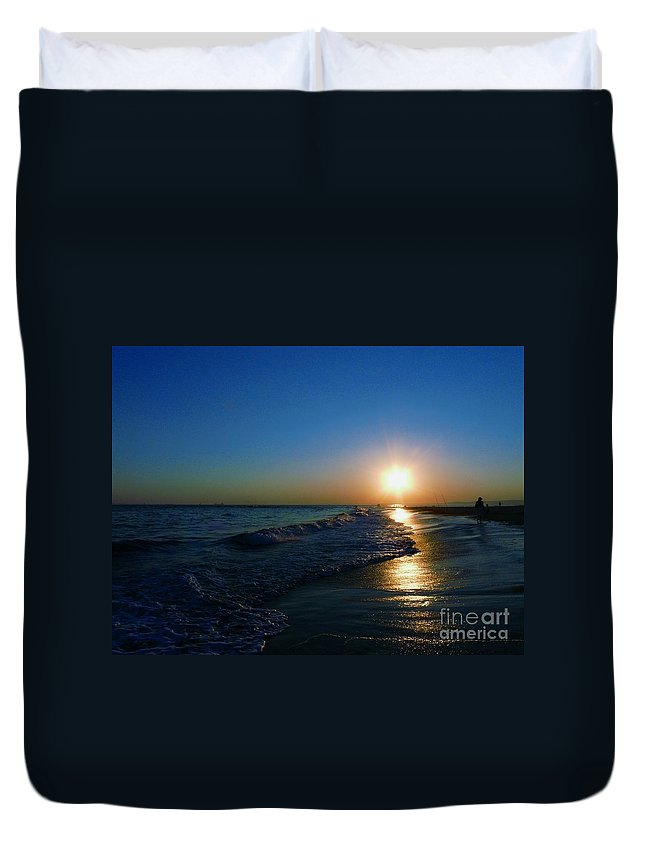Landscape Duvet Cover featuring the photograph Blues In The Evening by Kendall Eutemey