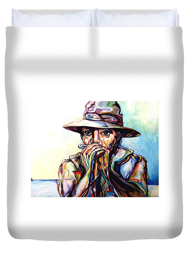 Lloyd Deberry Duvet Cover featuring the painting Blues Traveler by Lloyd DeBerry