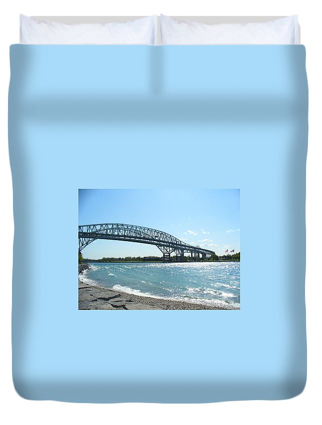Bluewater Bridge Duvet Cover featuring the photograph Bluewater Bridges by Peggy King
