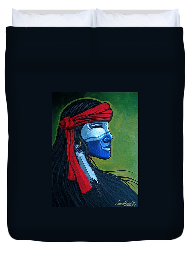 Native American Duvet Cover featuring the painting Bluface by Lance Headlee