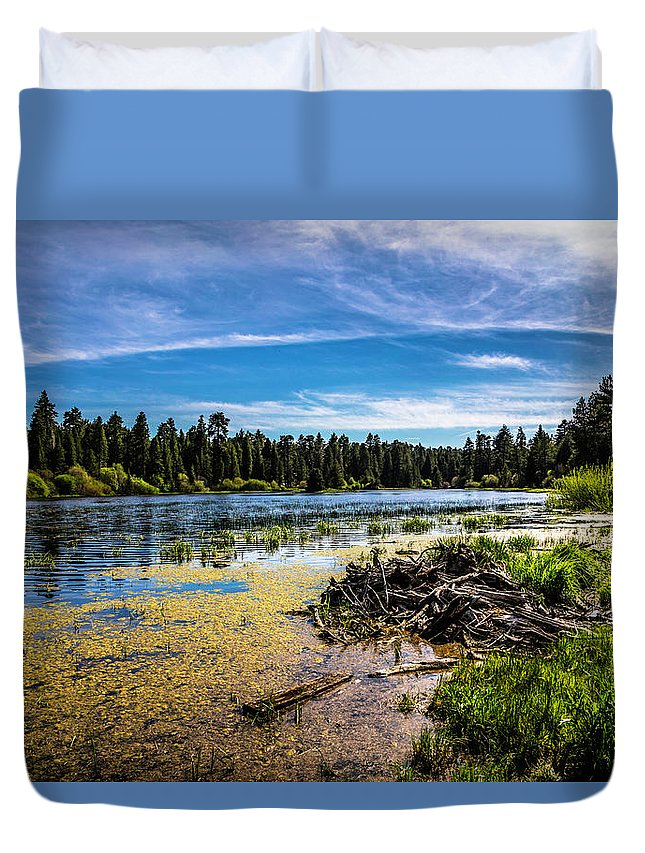 Bluff Lake Duvet Cover featuring the photograph Bluff Lake by Janet Aguila Krause