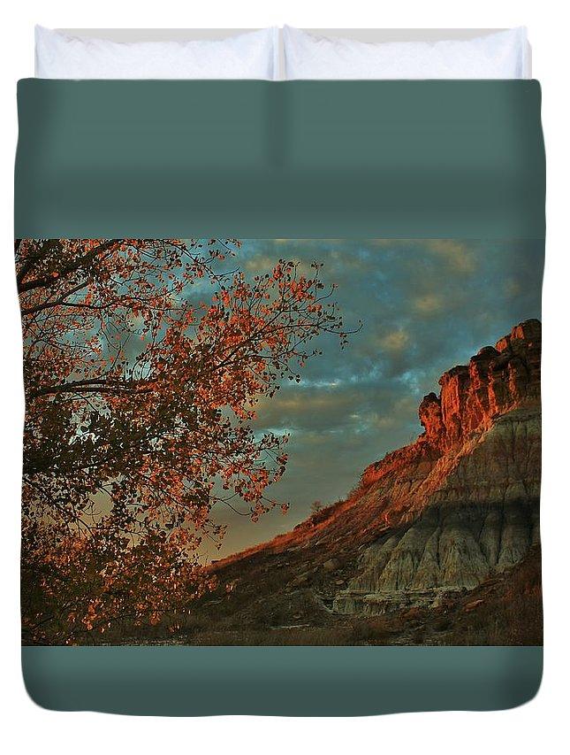 Kansas Duvet Cover featuring the photograph Bluffs Along The Saline River North Of Russell, Kansas. by Greg Rud