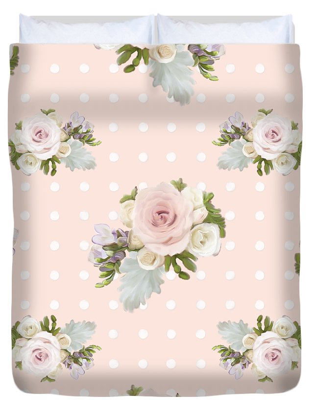 Blush Pink Duvet Cover featuring the painting Blush Pink Floral Rose Cluster w Dot Bedding Home Decor Art by Audrey Jeanne Roberts