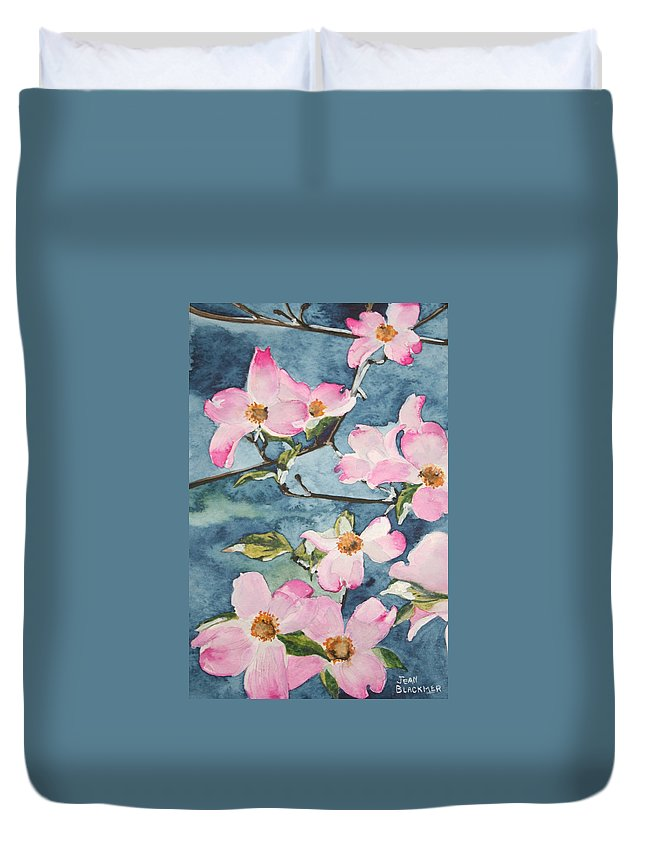 Flowers Duvet Cover featuring the painting Blushing Prettily by Jean Blackmer