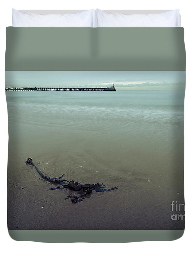 Sea Duvet Cover featuring the photograph Blyth Beach And Pier #1 by John Cox