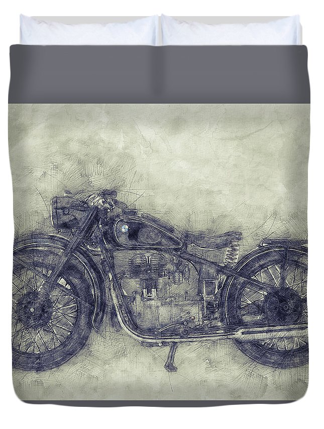 Bmw R32 Duvet Cover featuring the mixed media Bmw R32 - 1919 - Motorcycle Poster 1 - Automotive Art by Studio Grafiikka