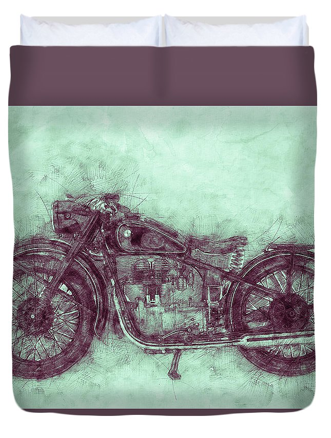 Bmw R32 Duvet Cover featuring the mixed media Bmw R32 - 1919 - Motorcycle Poster 3 - Automotive Art by Studio Grafiikka
