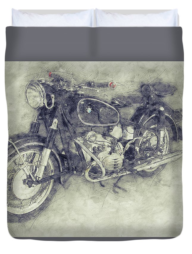 Bmw R60/2 Duvet Cover featuring the mixed media Bmw R60/2 - 1956 - Bmw Motorcycles 1 - Vintage Motorcycle Poster - Automotive Art by Studio Grafiikka