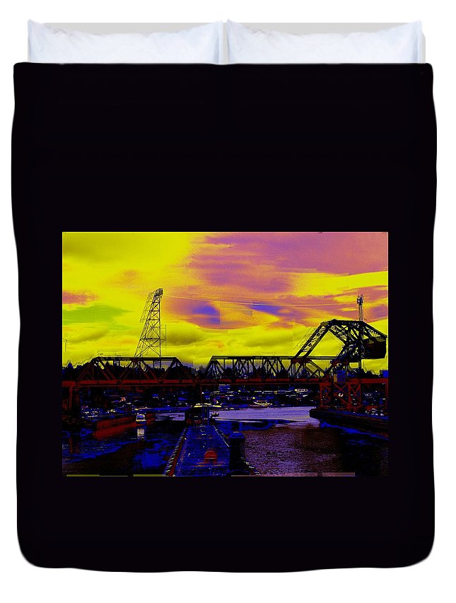 Seattle Duvet Cover featuring the photograph Bnsf Trestle At Salmon Bay by Tim Allen