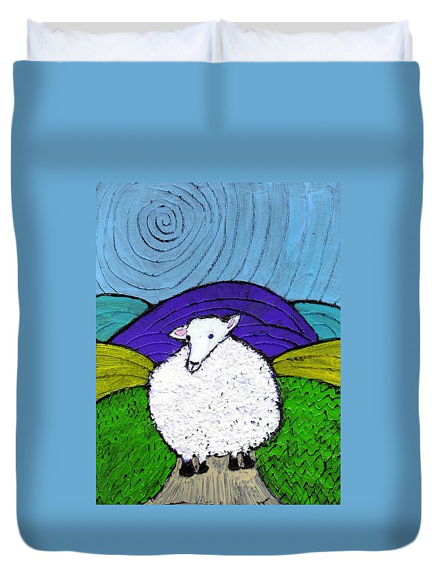 Sheep Duvet Cover featuring the painting Bo Peeps Lost Sheep by Wayne Potrafka
