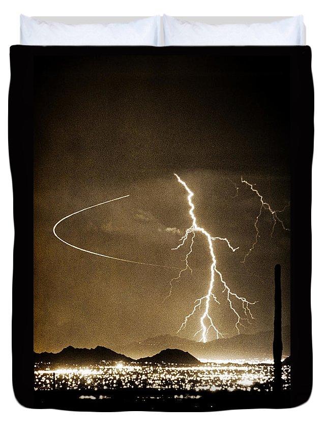Lightning Duvet Cover featuring the photograph Bo Trek Lightning Art by James BO Insogna