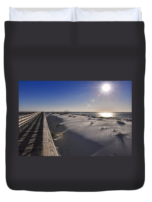 Boardwalk Duvet Cover featuring the photograph Boardwalk To The Gulf by Gej Jones