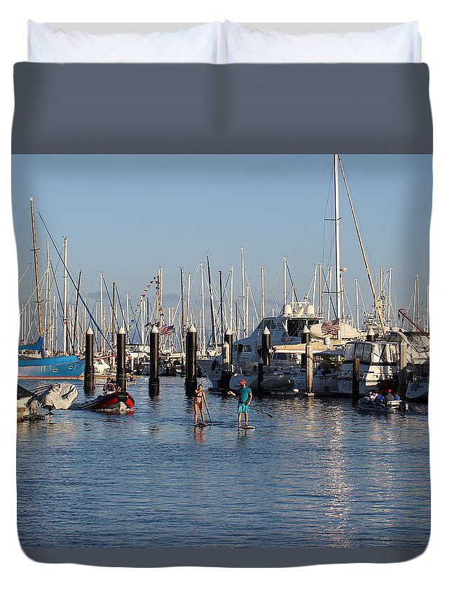 Santa Barbara Harbor Duvet Cover featuring the photograph Boat Aims At Paddleboarders by Gary Canant