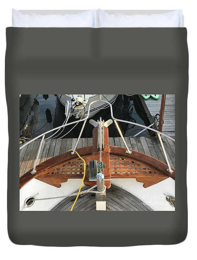 Boat Duvet Cover featuring the photograph Boat Bow by LeLa Becker