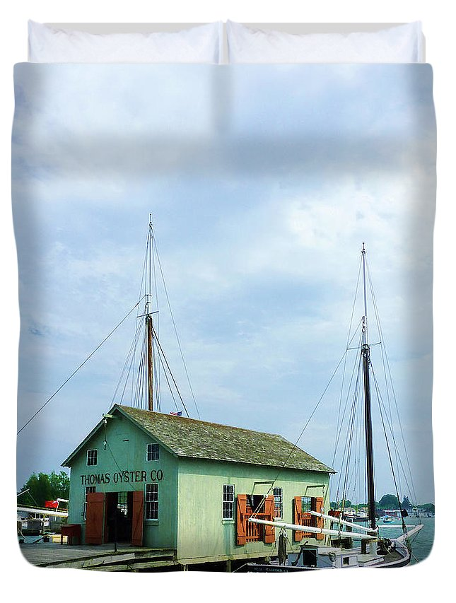 Boat Duvet Cover featuring the photograph Boat By Oyster Shack by Susan Savad