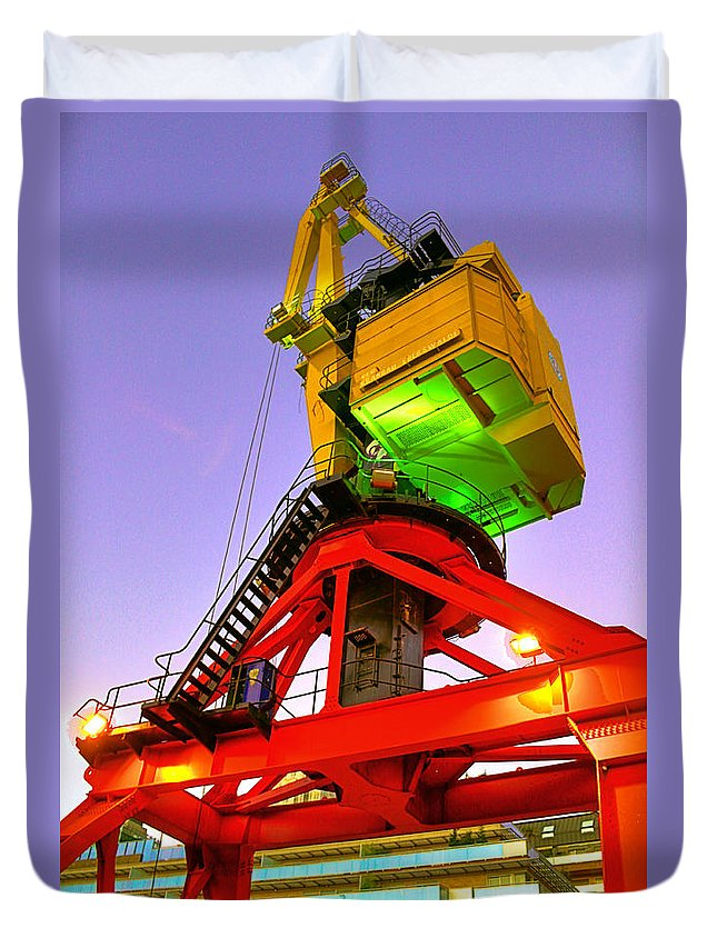 Buenos Duvet Cover featuring the photograph Boat Crane by Francisco Colon