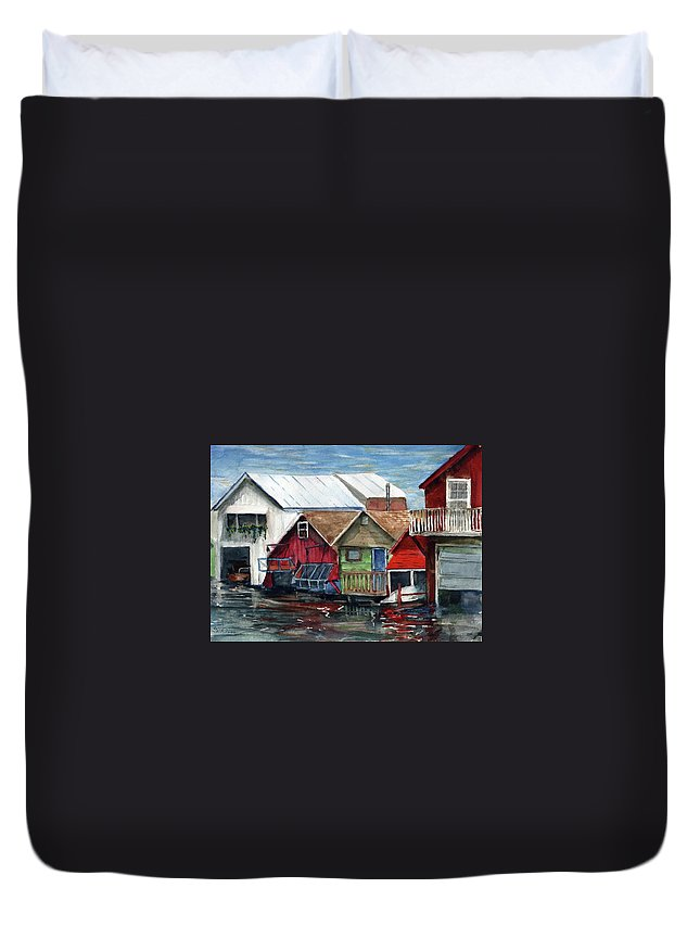 Canadaigua Lake Duvet Cover featuring the painting Boat Houses On The Lake by Don Seib
