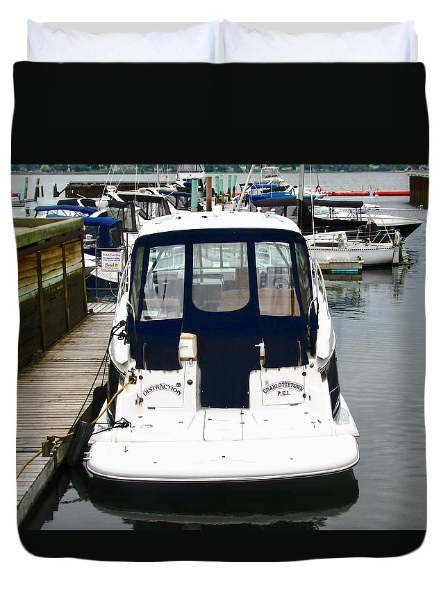 Boat Duvet Cover featuring the photograph Boat In The Harbour by Stephanie Moore