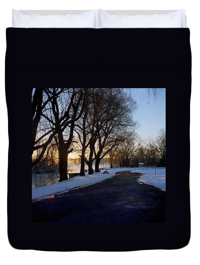Winter Duvet Cover featuring the photograph Boat Launch In Winter by Joshua Macneil