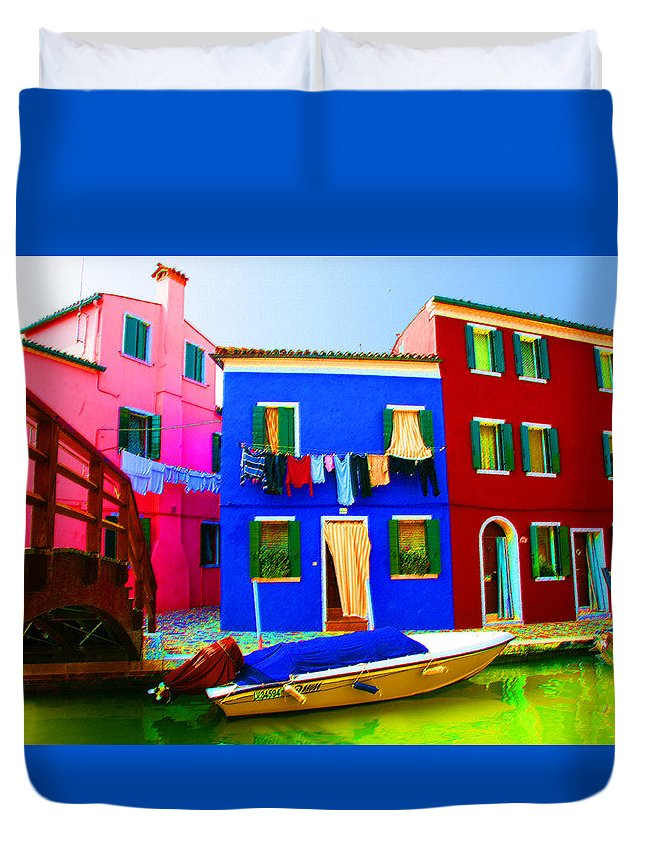 Burano Duvet Cover featuring the pastel Boat Matching House by Donna Corless