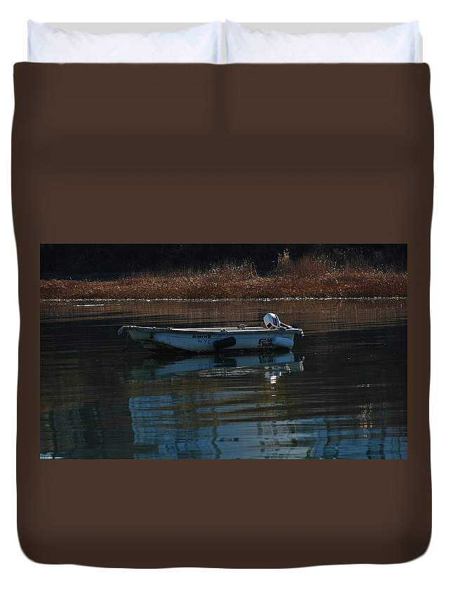 Boat On A Calm Day Squantum Ma Duvet Cover featuring the photograph Boat On A Calm Day by Bill Driscoll