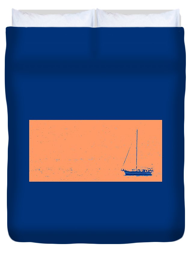 Boat Duvet Cover featuring the photograph Boat On An Orange Sea by Ian MacDonald