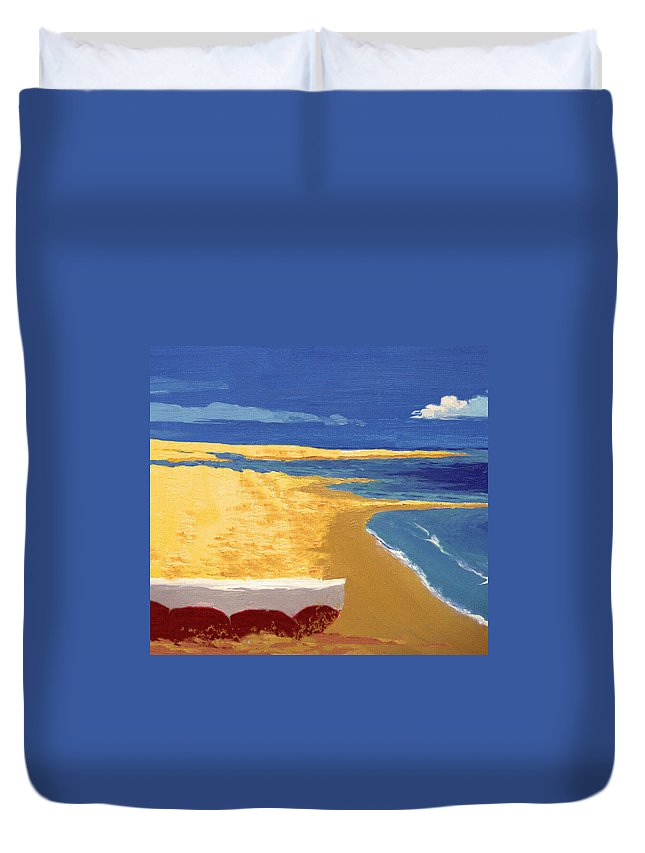 Boat Duvet Cover featuring the painting Boat On The Sand Beach by Alban Dizdari