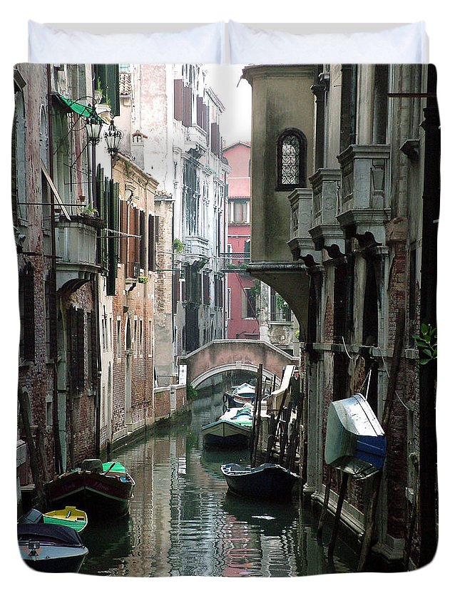 Venice Duvet Cover featuring the photograph Boat On The Wall by Donna Corless