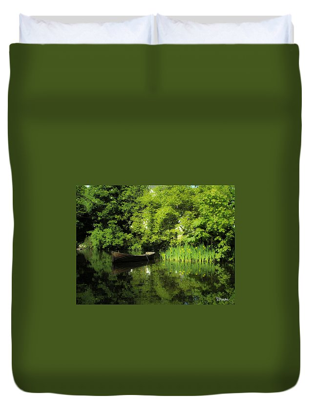 Irish Duvet Cover featuring the digital art Boat Reflected On Water County Clare Ireland Painting by Teresa Mucha