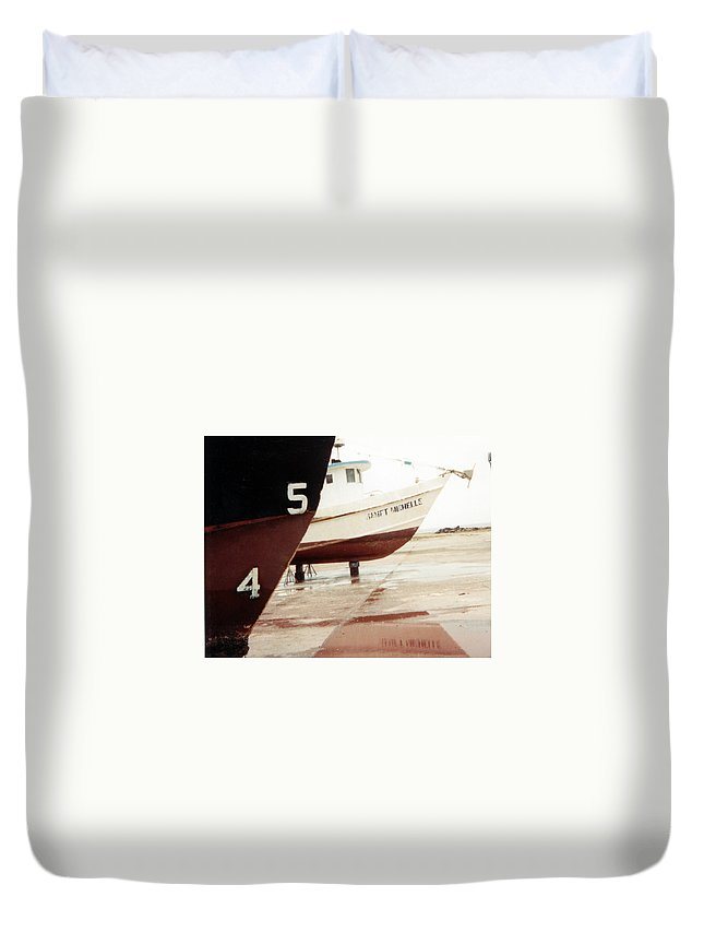 Boat Reflection Duvet Cover featuring the photograph Boat Reflection 2 by Cindy New