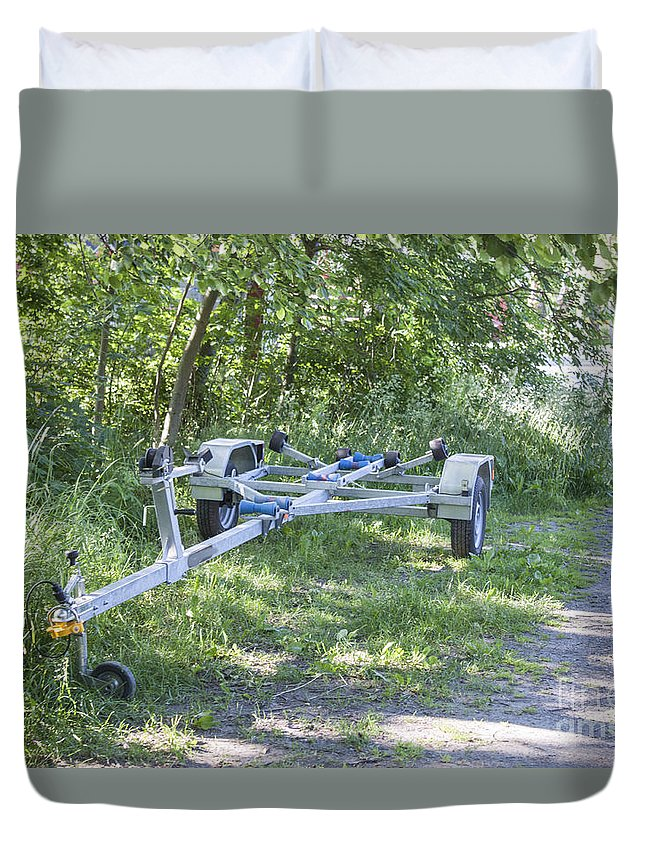 Trailer Duvet Cover featuring the photograph Boat Trailer by D R