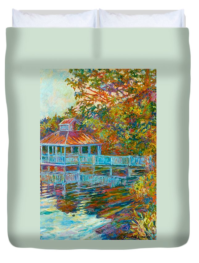Mountain Lake Duvet Cover featuring the painting Boathouse At Mountain Lake by Kendall Kessler