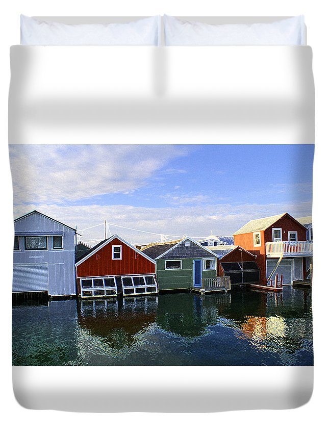 Reflections Duvet Cover featuring the photograph Boathouse Reflections by Deborah Napelitano