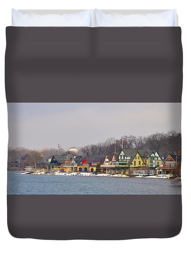 Boathouse Duvet Cover featuring the photograph Boathouse Row On A Winter Morning by Bill Cannon