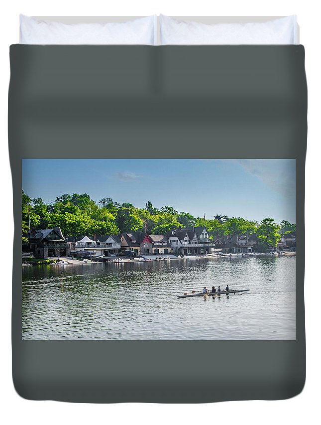 Boathouse Duvet Cover featuring the photograph Boathouse Row - Schuylkill Rowers by Bill Cannon
