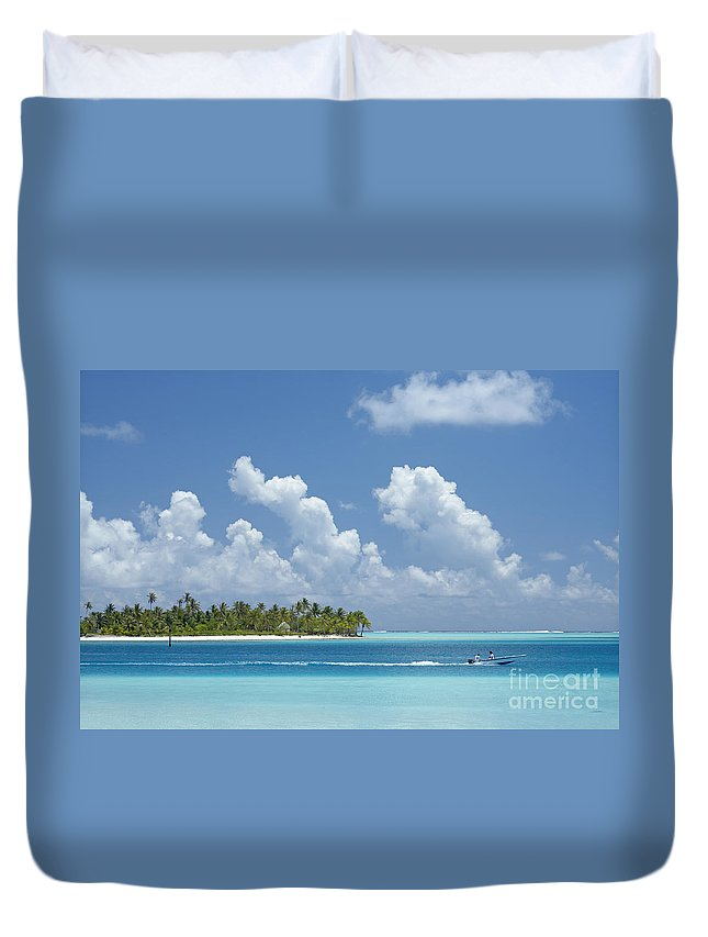 Alongside Duvet Cover featuring the photograph Boating In A Tahitian Lagoon by Kyle Rothenborg - Printscapes