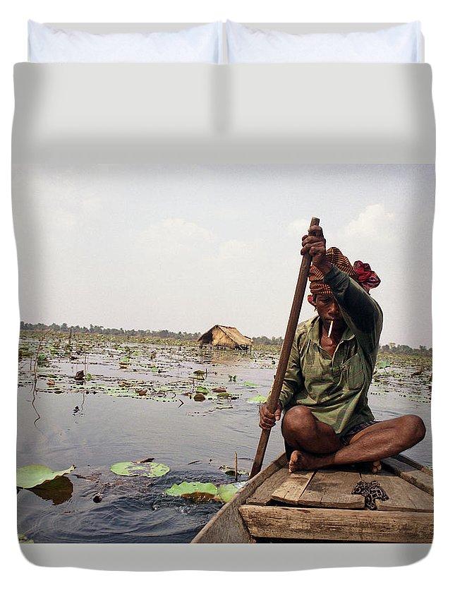 Cambodia Duvet Cover featuring the photograph Boatman - Battambang by Patrick Klauss