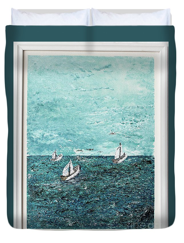 Sailboats Duvet Cover featuring the painting Boats And Birds by Mary Shawn Newins