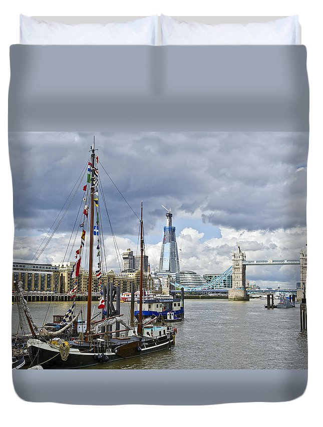 Shard Duvet Cover featuring the photograph Boats And Shard And Tower Bridge by Gary Eason