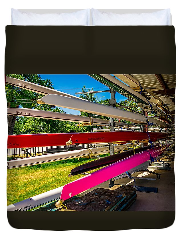 Boats Duvet Cover featuring the photograph Boats At Dallas Rowing Club by Robert Hurst