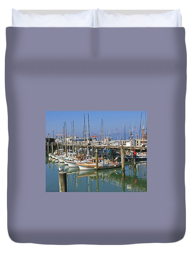 Boats Duvet Cover featuring the photograph Boats At Fisherman by Tom Reynen