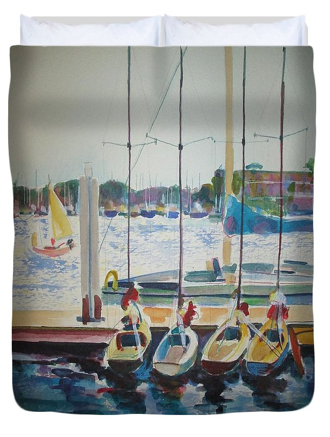 Landscape Seascape Boats Harbor Watercolor Expressionist Impressionist Duvet Cover featuring the painting Boats At Marina Del Rey by Bernadette Tibazi