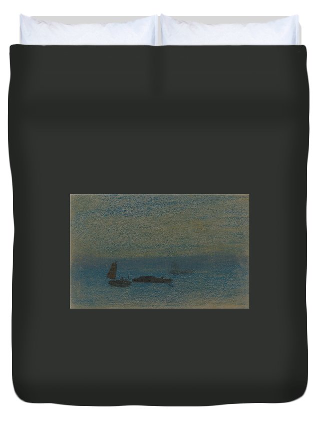 19th Century Art Duvet Cover featuring the pastel Boats At Night by Arthur Bowen Davies