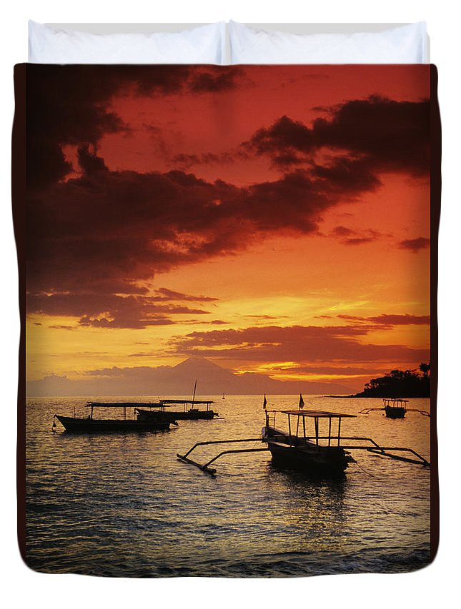 Boat Duvet Cover featuring the photograph Boats At Senggigi by Gloria & Richard Maschmeyer - Printscapes
