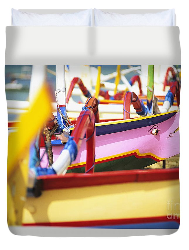Afternoon Duvet Cover featuring the photograph Boats In Bali by Dana Edmunds - Printscapes